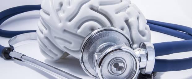 Gehirn-Modell mit Stethoskop