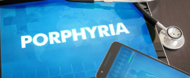 Tablet mit Schriftzug Porphyria